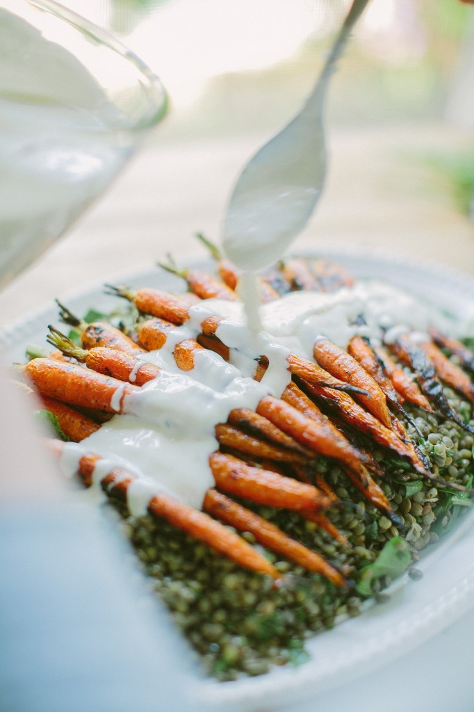 Grilled Carrots with Horseradish Yogurt Sauce over Lentils Happyolks-31