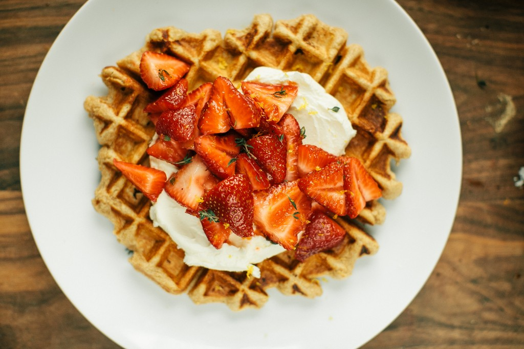 Happyolks Whole Wheat Belgian Waffles with Thyme, Strawberries, and Mascarpone-70