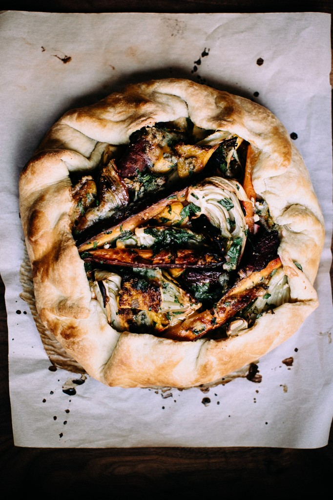 "Winter Vegetable & Gorgonzola Galette from www.happyolks.com featuring ""Stitches"" a winter playlist."