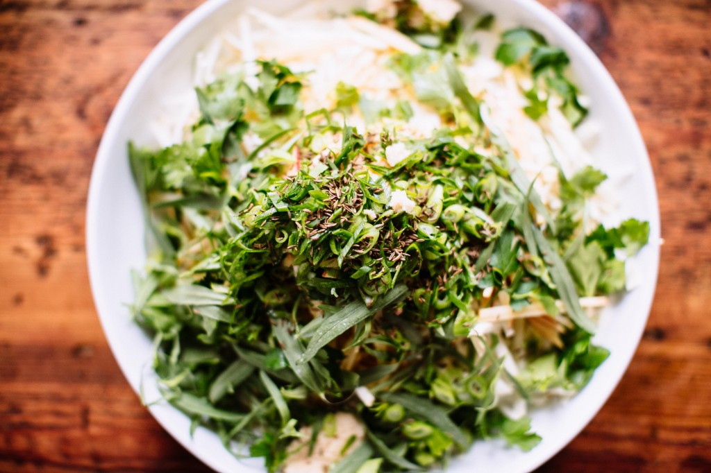 Happyolks | Raw Celery Root Salad with Apple, Caraway + Horseradish